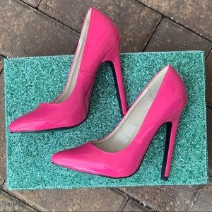 NIB Patent Hot Pink Towering Stiletto Heel Pump